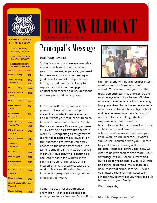 April May 2016 Newsletter Irene B West Elementary School