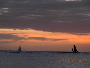 Sailboats at sunset.  This was always a very pretty time of the day.