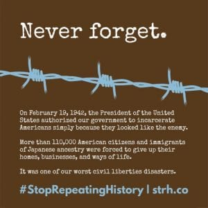 Never Forget poster from #StopRepeatingHistory