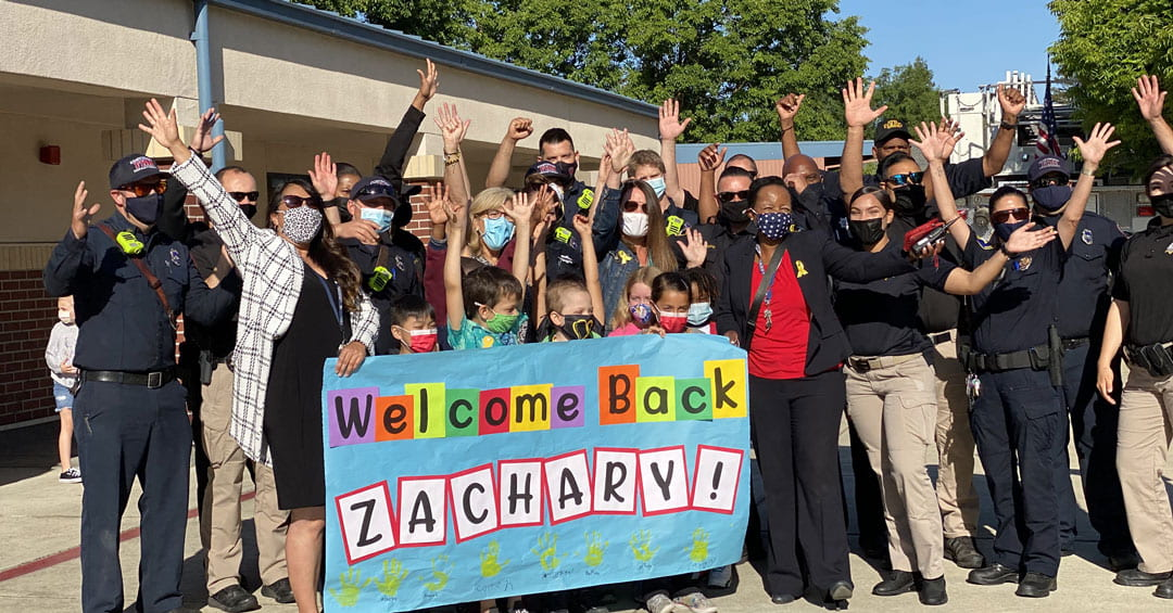 John Ehrhardt Elementary Students and Staff Welcome Back Zachary R.