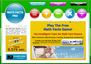 Math Facts Pro Sign-on Screen