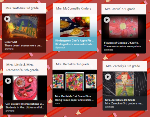 a display of media on a padlet