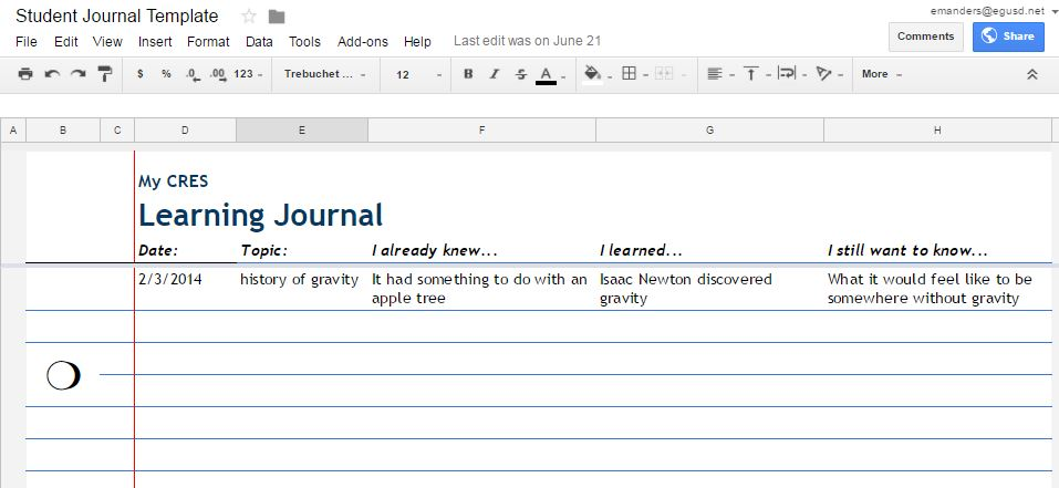 screenshot of a learning journal