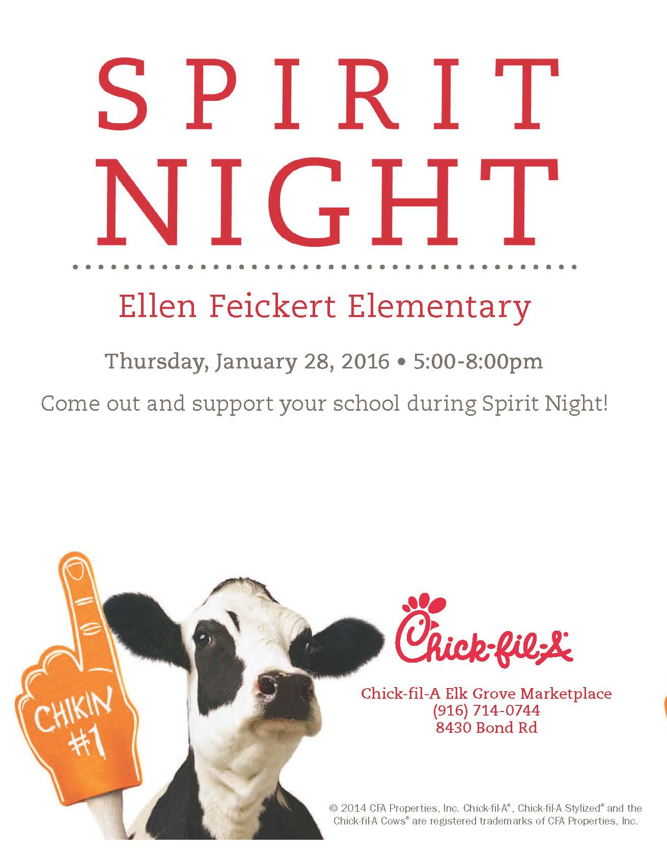 Spirit Night at Chick-fil-A 2016-01-28 : Ellen Feickert Elementary ...
