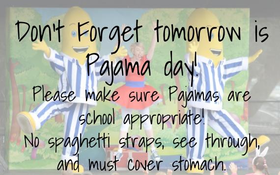 Pajama Day Tomorrow Maeola R Beitzel Elementary School