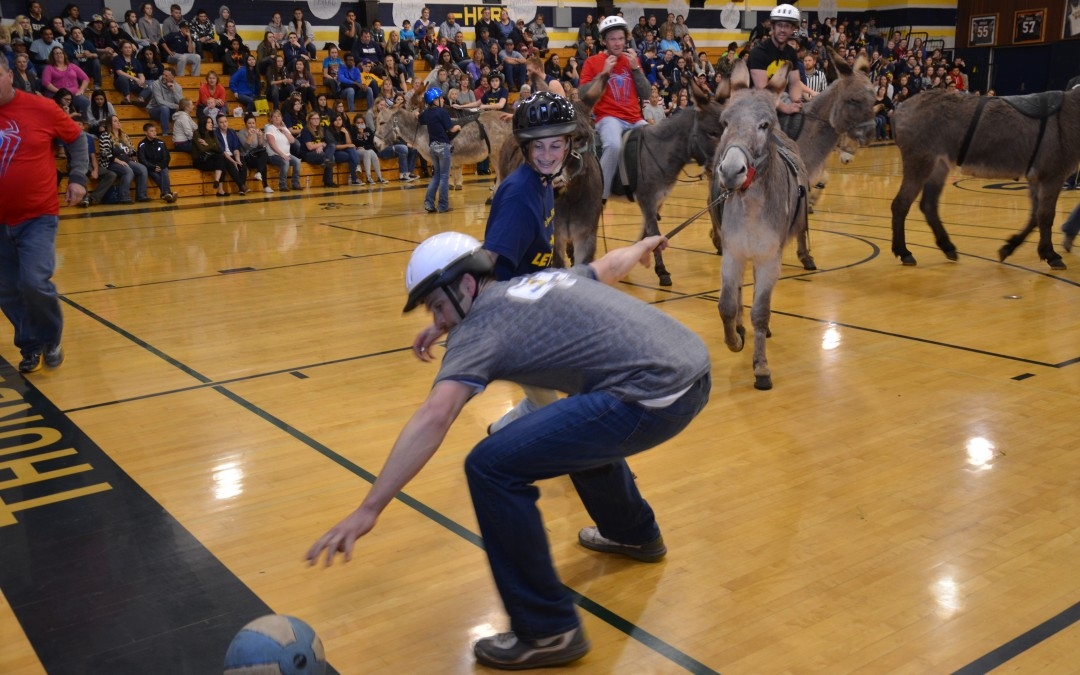 Sounds of Basketballs and Braying at Elk Grove High