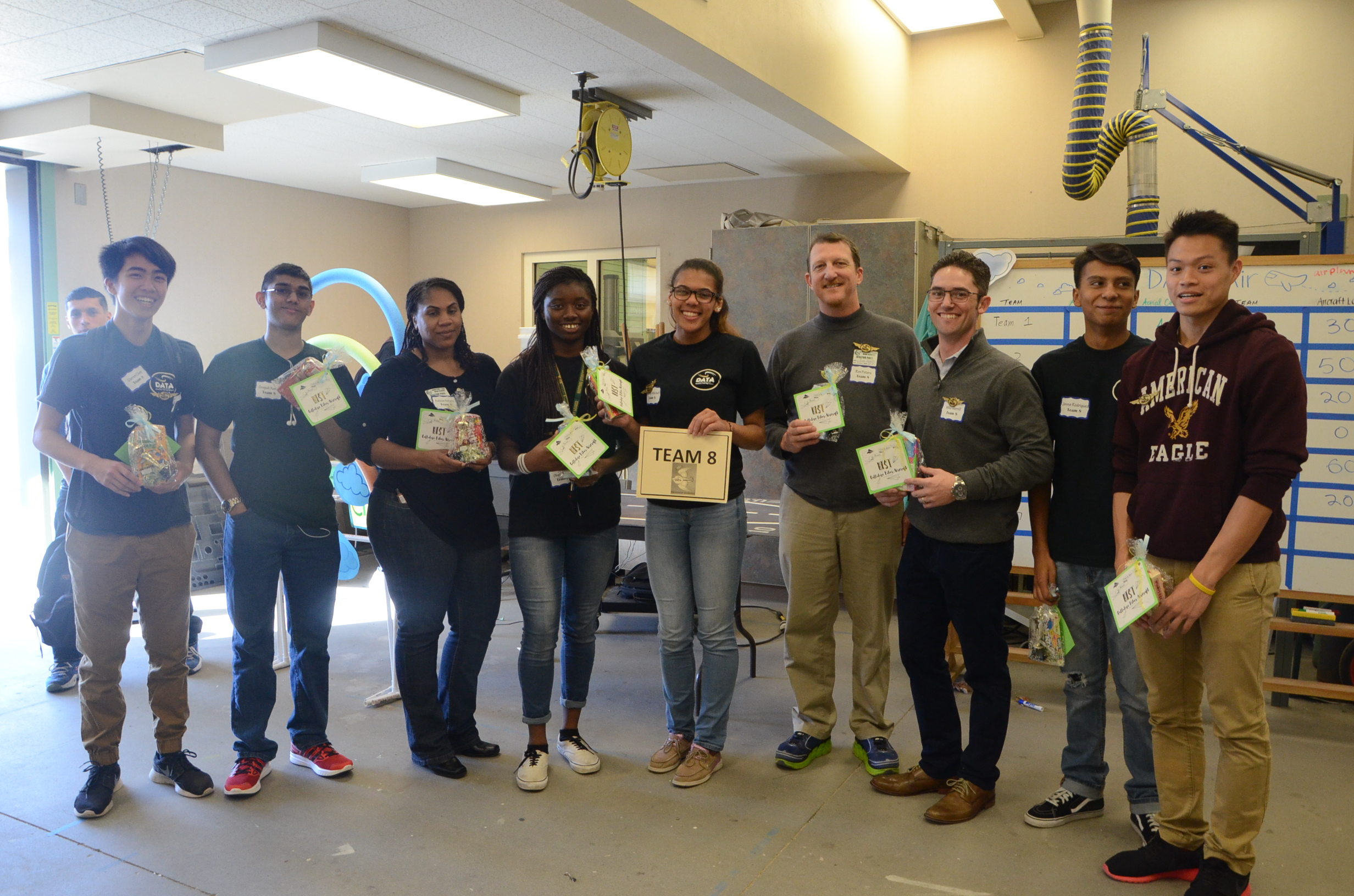 In this photo, you can see that those participating in the competition earned a special set of golden DATA wings, which were designed by DATA student Brittney Morgan and created using a 3D printer.