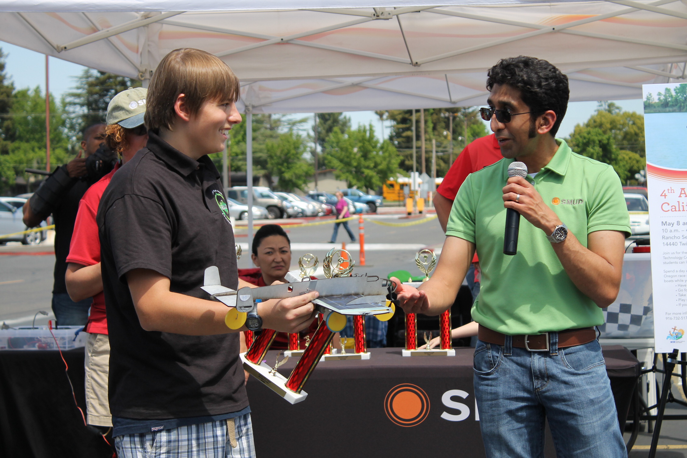 Winner of the Design category receiving his award.