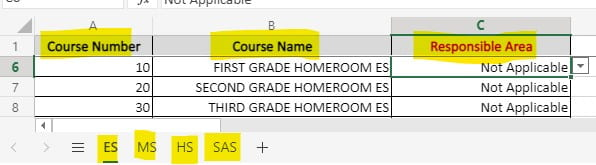 three columns showing the course name, course number, reponsible area, and the 4 worksheet tabs at the bottom