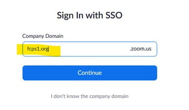 zoom company domain page showing fcps1-org filled in, Continue button is shown also