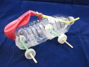 Plastic bottle balloon powered car design