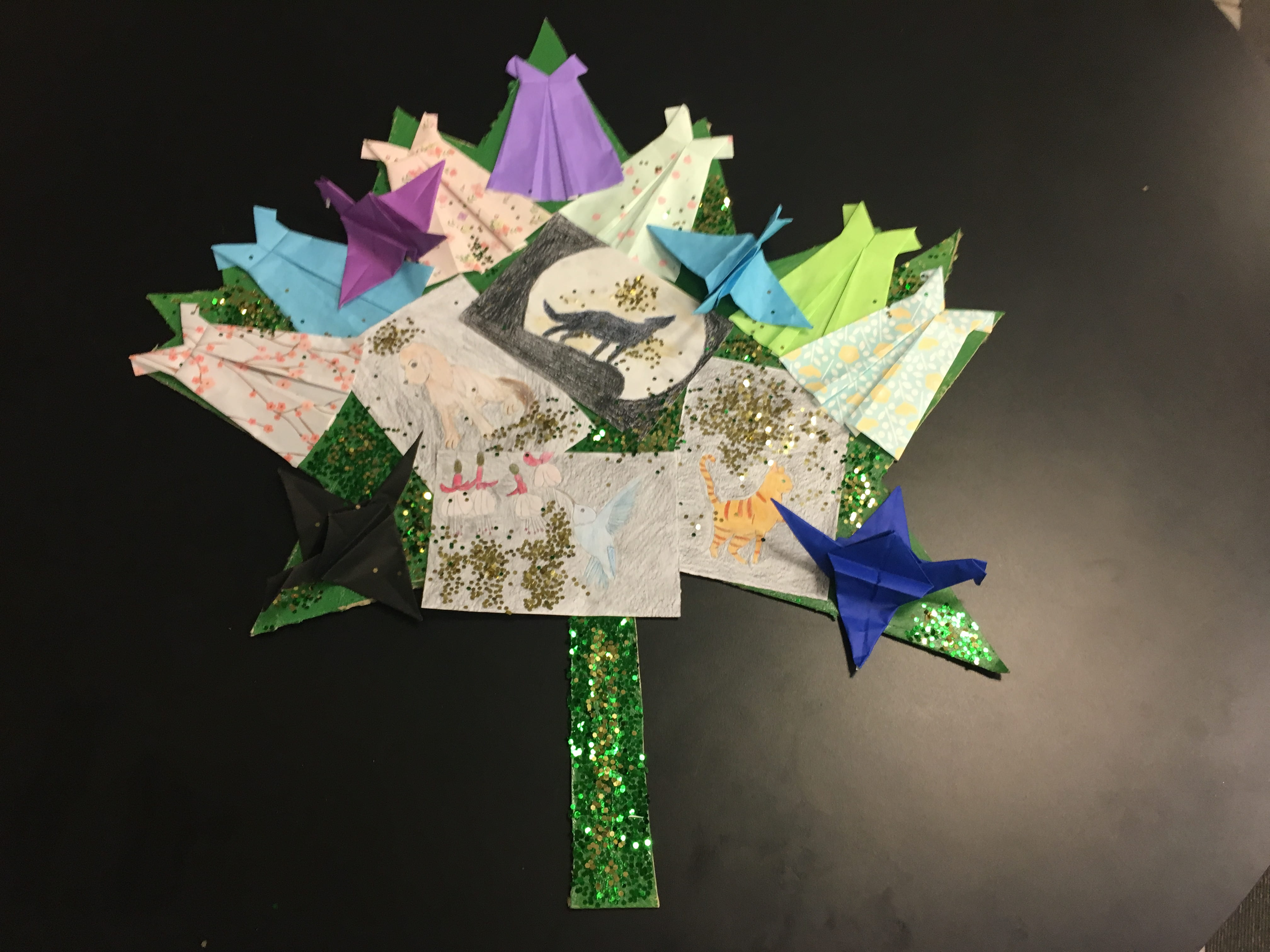 OneDay 2017: Nature Themed Origami and Drawing Collage.