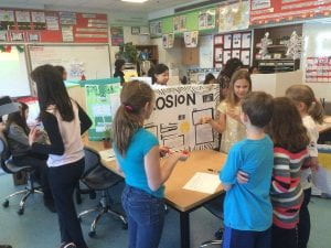 Young brains in motion at Grade 5 Science Fair. Kids did a great job explaining their projects. (Photo by Tom Fearon)
