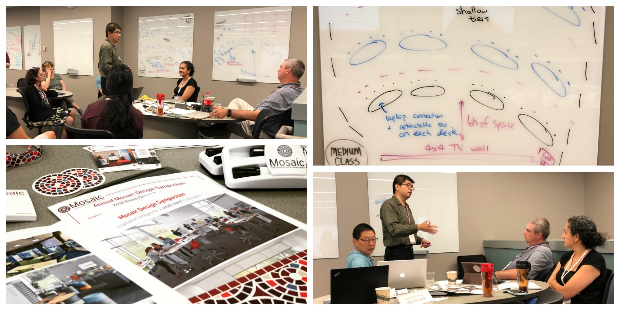decorative image collage of group discussion, whiteboard sketch of ideas, and design symposium materials