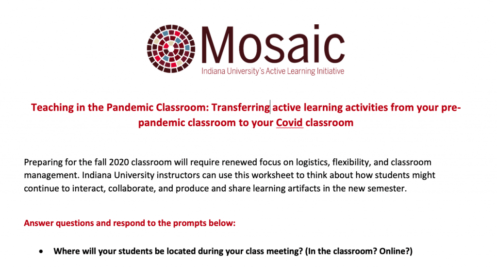 Image of the new handout titled: Teaching in the Pandemic Classroom: Transferring your active learning activities from pre-pandemic classroom to your Covid classroom.