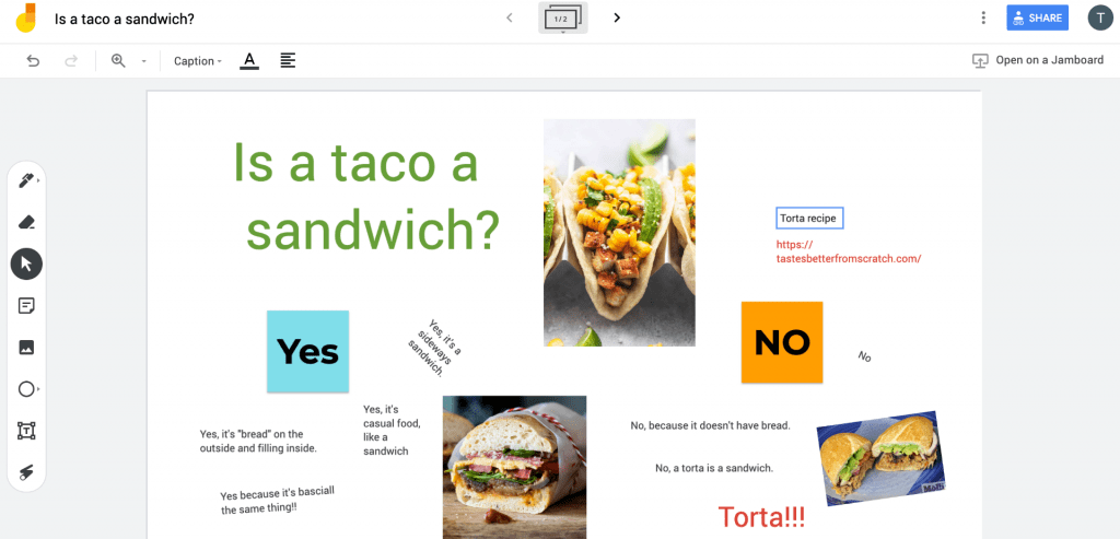 Image of example Google Jamboard discussion featuring text, links, and images.