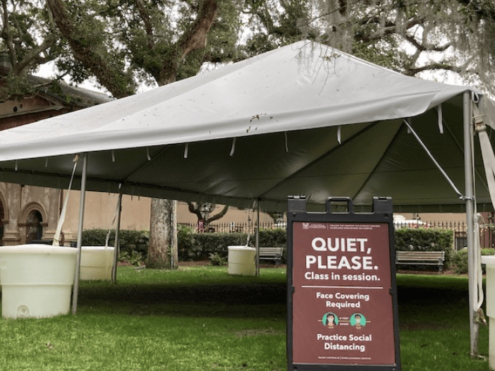 The College of Charleston was one of many schools that built temporary outdoor classrooms this year