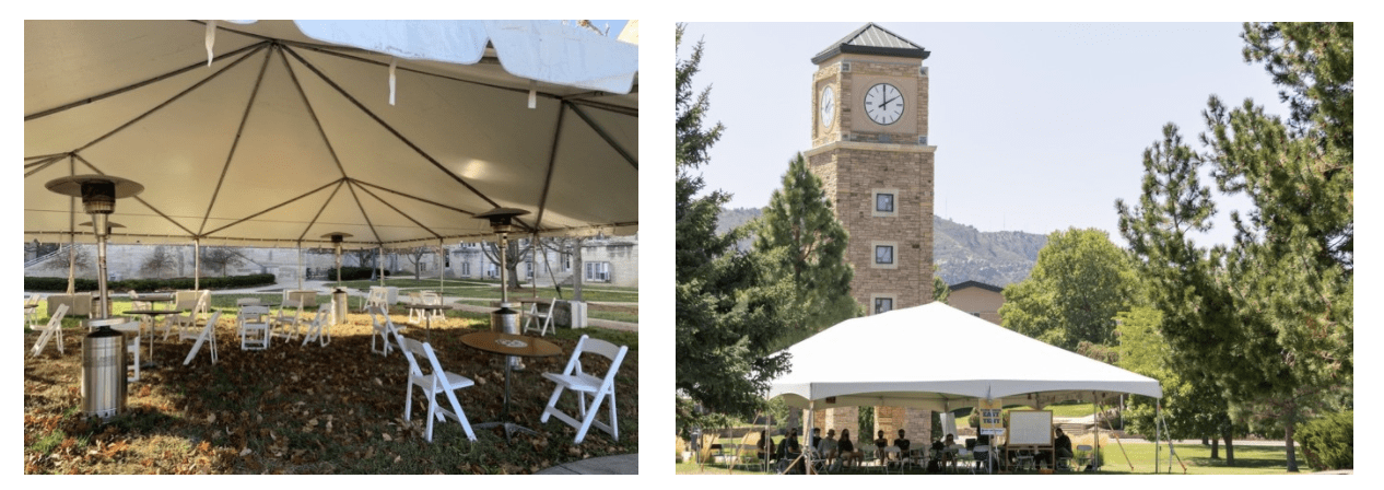 IU and Ft. Lewis College installed temporary tents to facilitate outdoor learning opportunities. Fort Lewis College