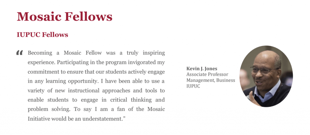 Image of a Mosaic Fellow and their quote about participating in the Mosaic Fellows program. .