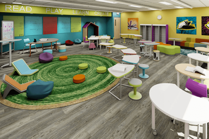 Offering a range of seating options allows for classroom flexibility and gives students the ability to learn in a space that they find physically comfortable. Image: Demcointeriors.com