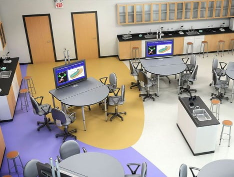Digital technology complements flexible furniture to facilitate collaboration and a variety of instructional goals. Image: Paragon