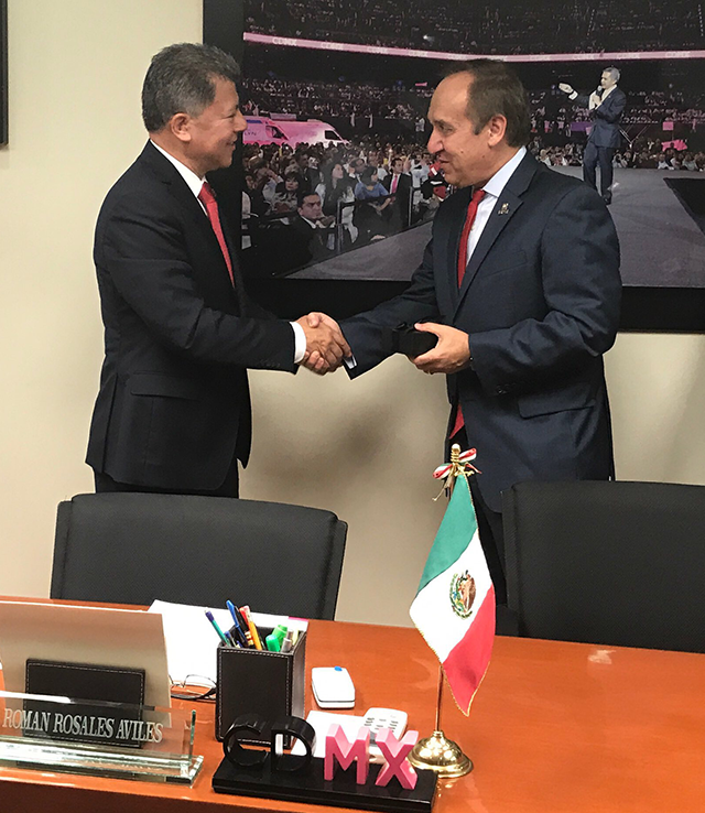 Chancellor Paydar thanks Dr. Román Rosales Avilés for visit to Ministry of Health CDMX, January 18, 2018
