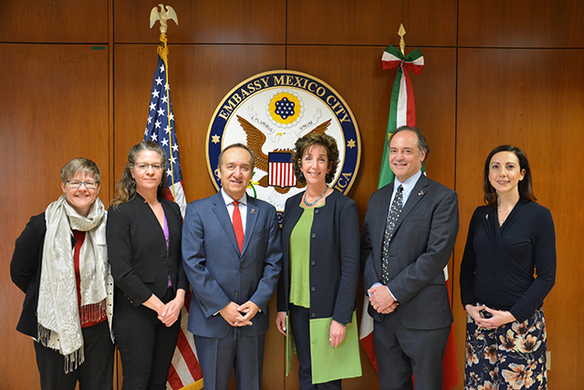 Along with several other members of the IUPUI delegation, Chancellor Paydar meets with U.S. Ambassador to Mexico, Roberta Jacobson, Mexico City, January 18, 2018