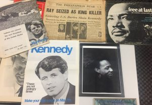 SPEA lecturer Bill Foley has amassed a collection of memoribilia from the height of the MLK movement and RFK campaign. This shows campaign posters, recordings and newspaper clippings of events.