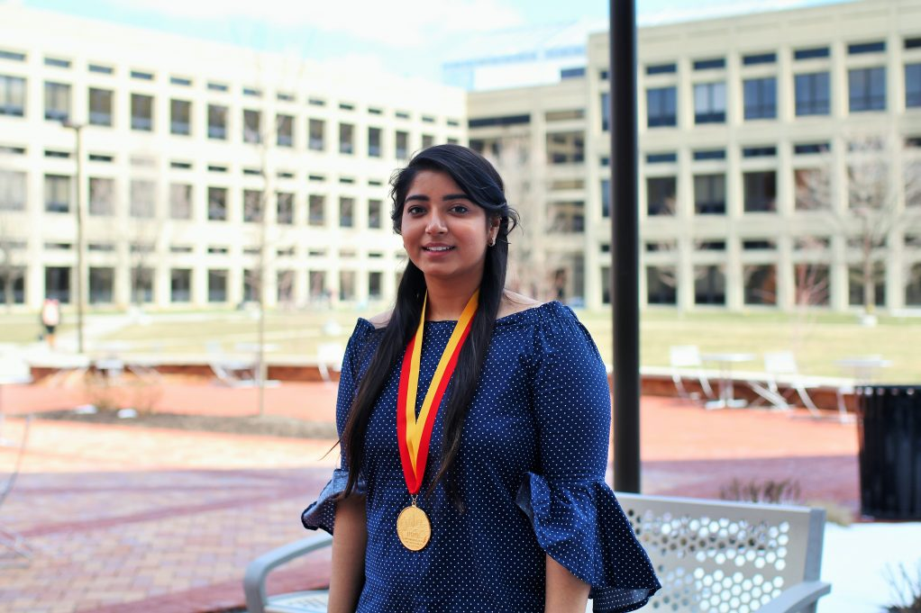 SPEA's Gurleen Kahlon wearing Plater Medallion for her civic service.
