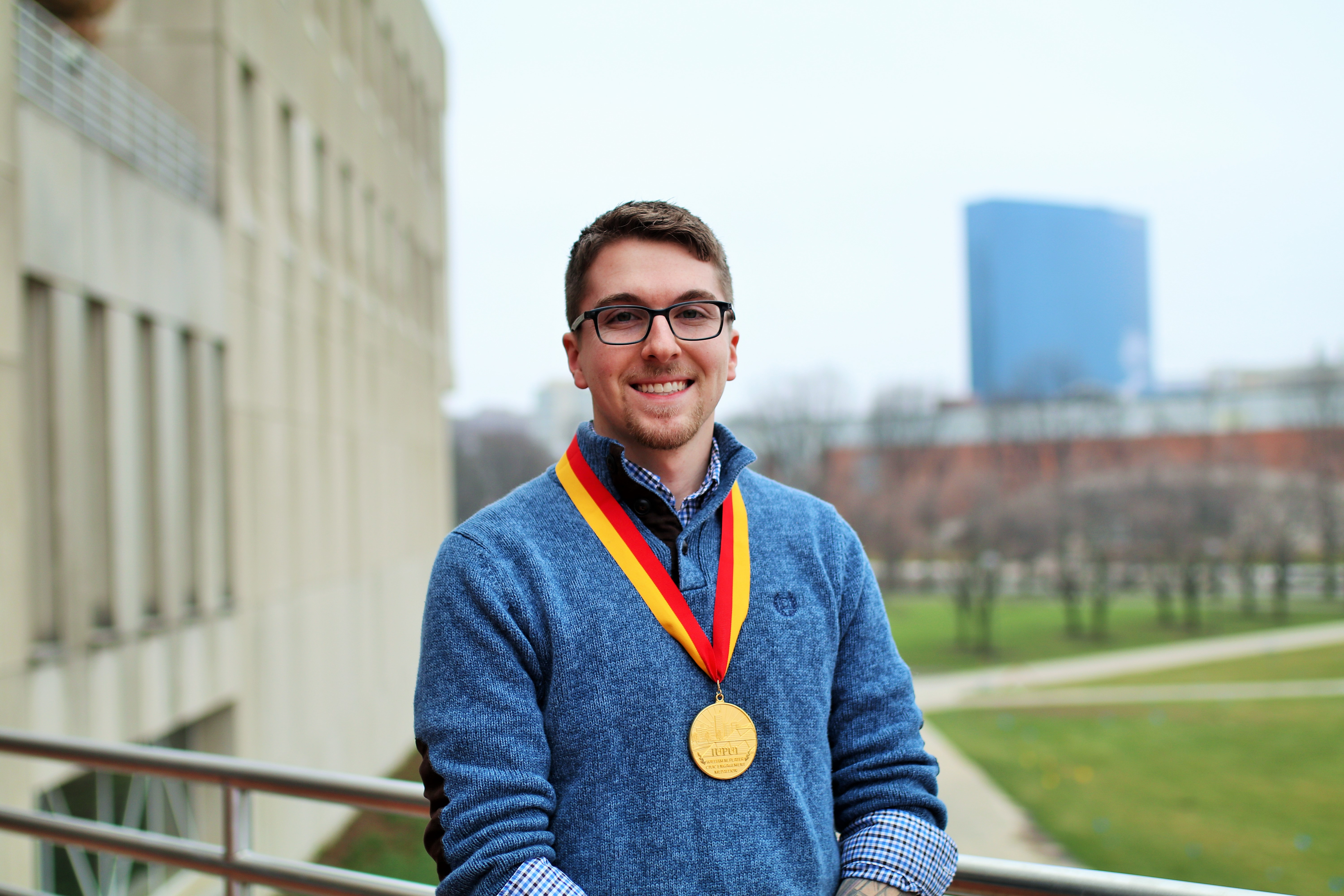 SPEA's Spencer Lawson earned the Plater Medallion for his research and impact on the community.