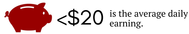 Image showing the average daily earnings is less than $20 for panhandlers.