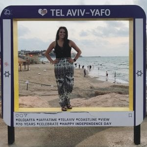 Kari Parmeter visits Tel Aviv during her SPEA Abroad program in Israel.
