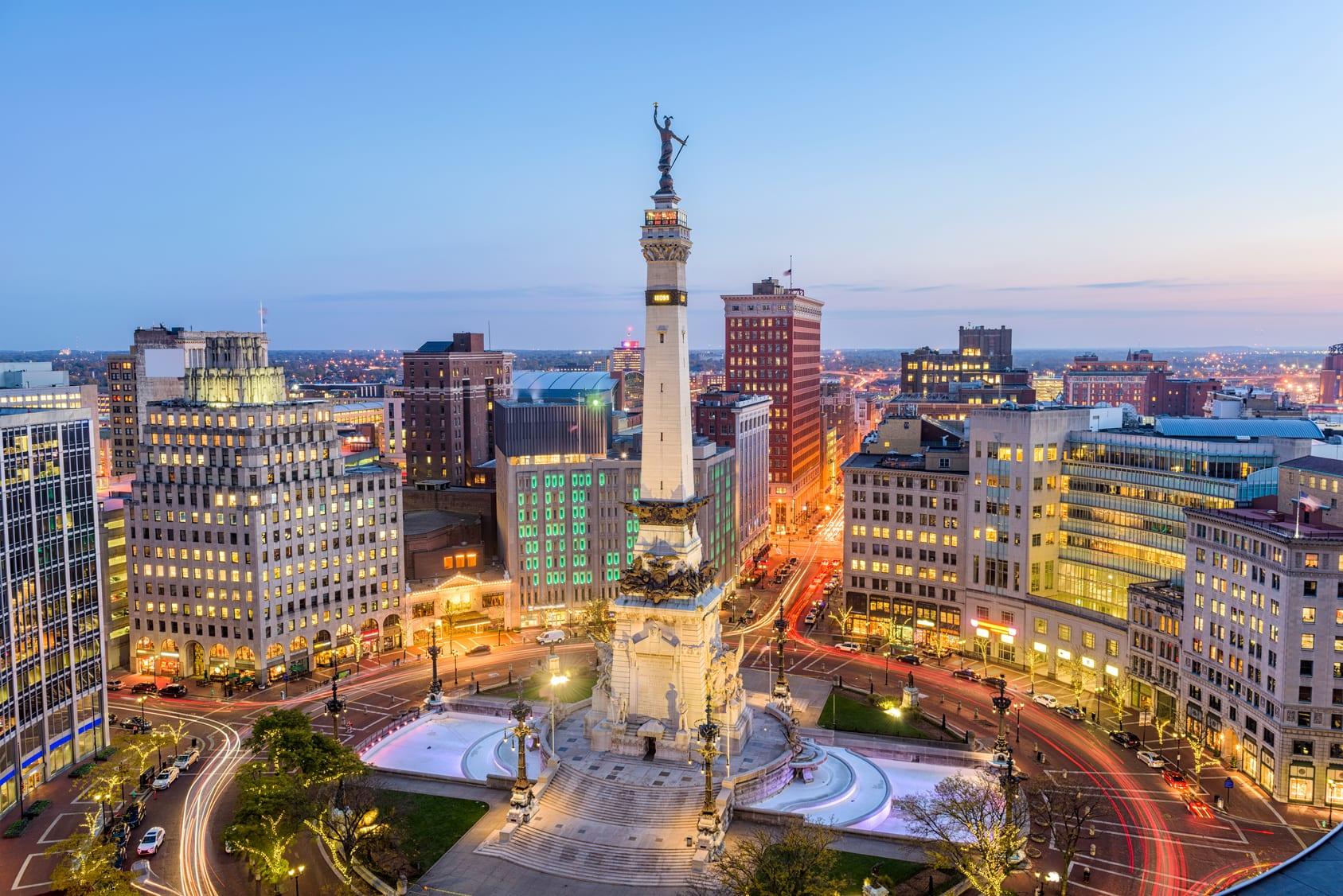 Indianapolis, Indiana, USA skyline over Monument Circle.