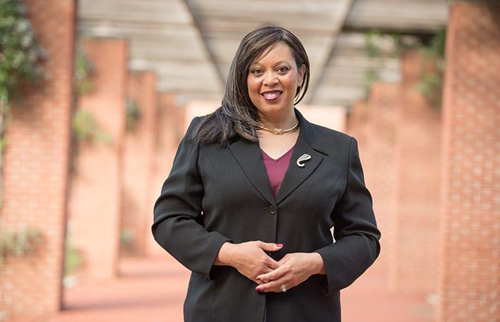 Tasha Phelps standing on IUPUI campus