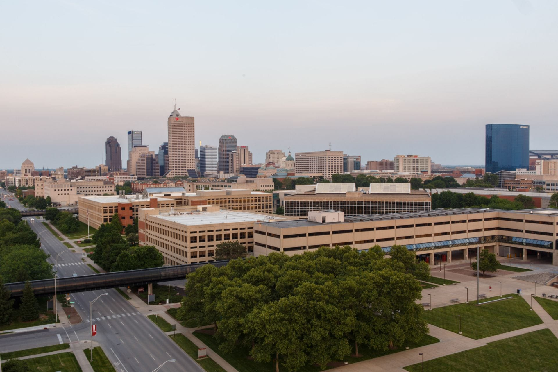 Aerial shot of O'Neill IUPUI with Indianapolis skyline in background