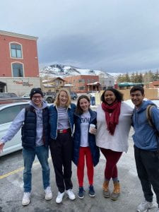 (From left to right) Sean Reddy (Films Committee member), Kat Ellingson (Canvas Creative Arts Magazine director), Reilly Woehler (Lectures Committee member), LaSabra Williams (SILC Program Coordinator), and Sahil Patel (Films Committee director) in Park City, Utah for the 2020 Sundance Film Festival.