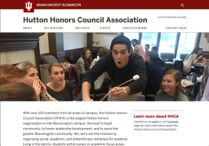 Hutton Honors Council Association website homepage.