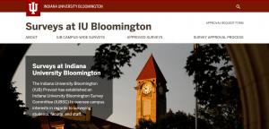Screenshot of the IUB Surveys website