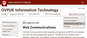 Screen capture of the OVPUE IT website's navigation.