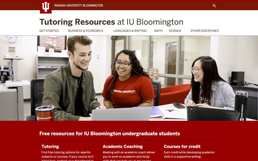Screenshot of the homepage of tutoring.indiana.edu