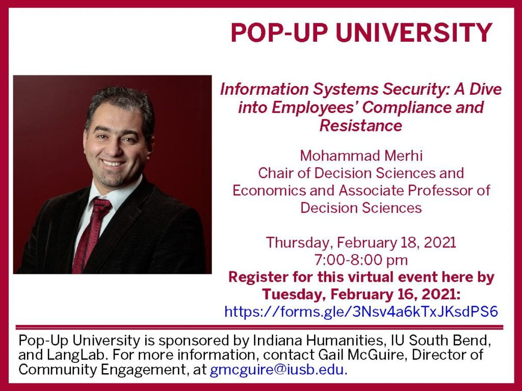 """Pop-Up University poster with photo of Mohammad Merhi and event information that is also stated in the body of the post. At the bottom, it also says, """"Pop-Up University is sponsored by Indiana Humanities, IU South Bend, and LangLab. For more information, contact Gail McGuire, Director of Community Engagement, at gmcguire@iusb.edu."""""""