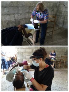 """Dr. Carmen Dielman and dental education adjunct faculty member, Lydia Rosado-Spencer, providing dental cleanings in a make-shift """"dental clinic"""" that they set up in the mountains in Haiti. Hundreds of people came to receive care!"""