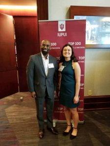 Dr. Jeffry Thigpen and Amelia Rodriquez at IUPUI's Top 100.