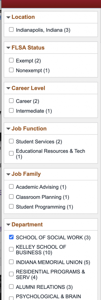 Image showing the filter section of the webpage with the check box for school of social work checked