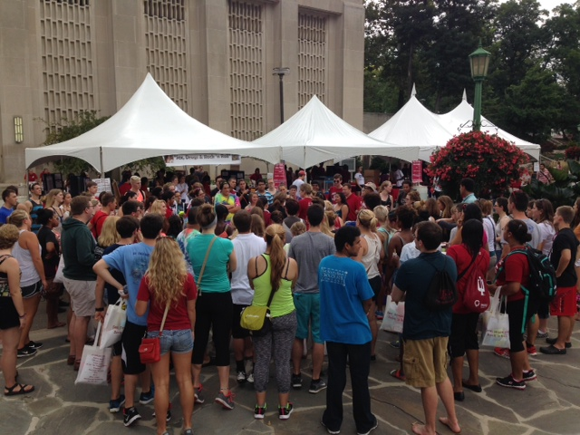 Students fill the Showalter Fountain area at a previous Sex, Drugs, and Rock and Roll event