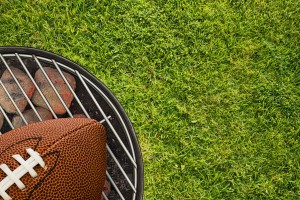 Football Tailgate BBQ Grill on Grass