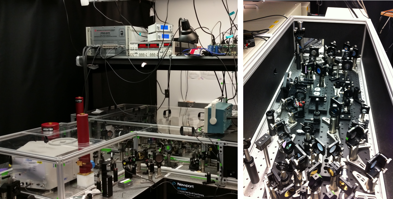 Two photographs showing the inner workings of a complicated laser system. Many mirrors, lenses, and other optics dot the landscape. Tall red cylinders, which are the detectors for the 2D IR experiment, stand prominently above the clutter.