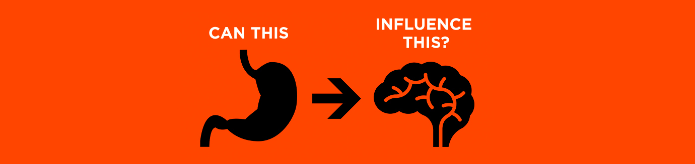 "A cartoon image of a stomach with an arrow pointing to a brain, with the words ""can this"" (above stomach) ""influence this?"" (above brain)"