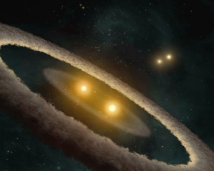 Artist's impression of a circumbinary disk in the process of forming planets. Illustration Credit: NASA/JPL-Caltech/T. Pyle (SSC) {{PD-USGov-NASA}}