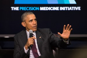 President Barack Obama speaks during a panel discussion for the White House Precision Medicine Initiative (PMI) Summit in Washington, D.C. Feb. 25, 2016. Obama hosted the panel that included Assistant Secretary of Defense for Health Affairs Dr. Jonathan Woodson, researchers, and patients discussing medical research and ways to improve healthcare for veterans and patients nationwide. (DoD News photo by EJ Hersom)
